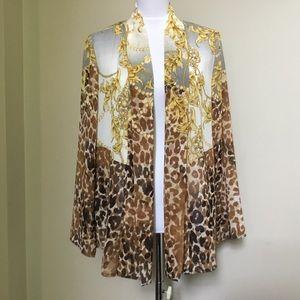 NWT $128 CHICOS TRAVELERS leopard chiffon jacket M